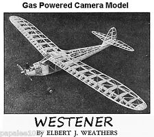 "Model Airplane Plans (FF RC ): Vintage 1938 WESTERNER 96"" .60 Powered Camera Job"