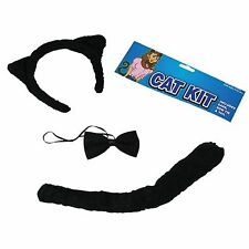 Adult Black Cat Ears Bow Tie + Tail Kit Fancy Dress Halloween Costume Set DS009