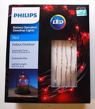 Philips Battery Operated Dewdrop Fairy LED Lights Red Indoor Outdoor w/ Timer