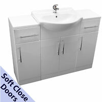 BATHROOM VANITY SINK CABINET 550mm WITH 2 STORAGE UNITS BASIN MIXER TAP & WASTE