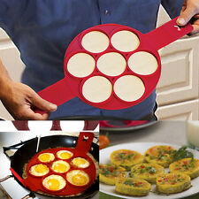 7 Cavity Pancake Mold Flippin Non Stick Egg Omelets Silicone Ring Maker Tools