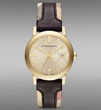 Burberry Women's Swiss Gold Tone The City Haymarket  Check Leather Watch BU9032