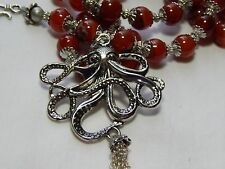 """28"""" Large Octopus & Red Agate Necklace"""