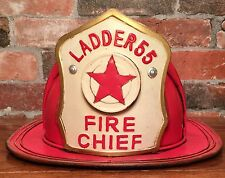 Ladder 55 Vintage Tin Metal Fire Chief Firefighter Hat