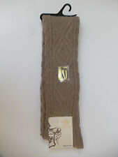CALZE SCANZI ITALY~TAN OVER THE KNEE WOOL CABLE SOCKS~ONE SIZE~NWT