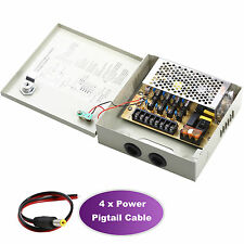 4CH Power Supply Box Distribution CCTV Camera PTC Fuse 4 Ports DC12V MAX. 5A