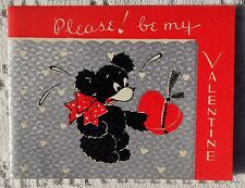 VINTAGE VALENTINE GREETING CARD - PLEASE BE MY VALENTINE - BEAR WITH CANDY HEART