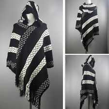 New Women Hoodie Knitted Tassel Hooded Cape Cloak Poncho Coat Shawl Wrap Sweater