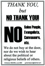 4 x No Soliciting, Cold/Religious Callers, Salesmen, Hawkers, Signs [30 day]