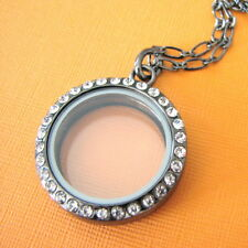 FLOATING CHARMS 30mm Round Silver Glass Large Locket Crystal Pendant Necklace