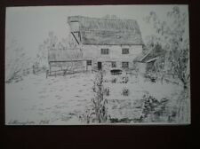 POSTCARD SUFFOLK LETHERINGHAM MILL PENCIL SKETCH