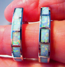FABULOUS LARGE SEMI HOOP WHITE FIRE OPAL EARRINGS 26 X 4 mm