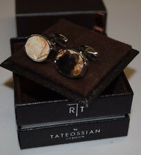 RT Tateossian London Rhodium Tonneau Fossil Wood Cufflinks NEW
