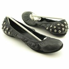 NEW $195 Juicy Couture Ravi Black Leather & Silver Studs Scrunch Ballet Flats 8