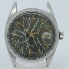 VINTAGE 1950's Tudor 7944 Black Waffle Dial Mens Automatic Watch = PARTS REPAIR