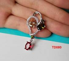925 Silver Dazzling Rose Quartz Crystal CZ Big Necklace Pendant