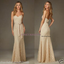 New Champagne Lace Bridesmaid Dresses Mermaid Formal Evening Gowns Custom