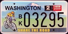 "WASHINGTON * SHARE THE ROAD "" BICYCLE MINT Graphic License Plate"