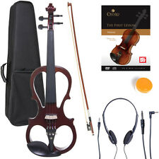 NEW 4/4 Ebony Electric Violin w/Pickup-Mahogany,Style-1