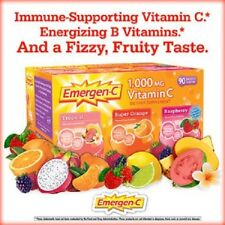 Emergen-C 90 Packets (1000 mg) Vitamin C Drink Mix - 3 Flavors NEW