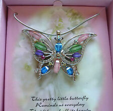 Necklace Butterfly Pendant pink green purple blue sparkly  pretty-- gift box