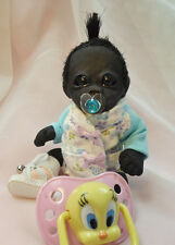 OOAK Baby Gorilla Monkey Girl Sculpted Polymer Clay Art Doll Mini Pose Able
