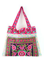 Handmade Beach Tote Bag with Hmong Embroidered Fabric Silk Worm Pattern Thailand