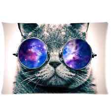 Funny Galaxy Hipster Cat Wear Color Sunglasses Zippered Pillowcase 20x30 Inch