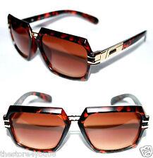 Men's Vintage Brown Lens Sunglasses Square  Grandmaster Matte Brown Gold Hip Hop