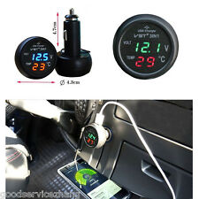 3in1 Car Charger Adapter USB+Digital LED Display Voltmeter+Thermometer Gauge