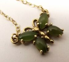 Vtg 14k Yellow Gold Butterfly Pendant Necklace Jade Stone Wings Inlay Figural
