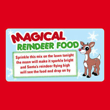 48 x Christmas Reindeer Poem Magical Food Sticker Business Xmas Label Fun -CH25