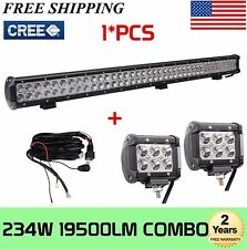 "Cree 36"" 234W Led Light Bar+2x18W Spot Lights+Harness Wiring 4x4 UTE 4WD Motor"