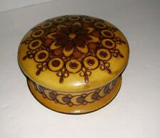 "HAND CARVED WOODEN BOX round wood trinket stash container with lid 4"" (S)"