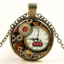 Steampunk Necklace Pink Glass Encased Cabochon Pendant Bronze Womens Jewelry