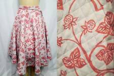 Full Circle Skirt Quilted Vintage 50s Gray Cotton Blend Red Strawberry Vine XS S