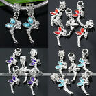 5pcs Crystal Angel Wing Big Hole European Spacer Loose Beads Fit Charms Bracelet