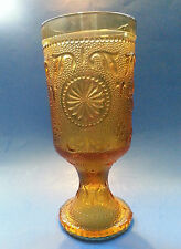 Brockway Amber American Concord Starburst Daisy Footed Water Glass 1960s