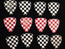 12 PIECE GUITAR PICK RED BLACK CHECKERED  NIP SEVEN KINGS CHRISTMAS GIFT