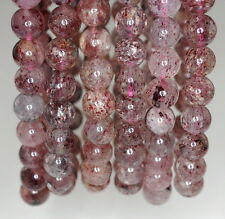 8MM RED STRAWBERRY LEPIDOCROCITE QUARTZ GEMSTONE GRADE A ROUND LOOSE BEADS 7""