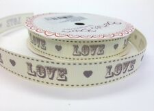 "2m Bertie's Bows Grey ""Love"" Vintage Font on 16mm Ivory Grosgrain Ribbon Wedding"