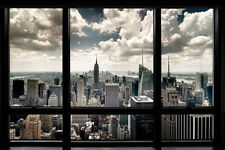 New York City Window Art Print Poster NYC Cityscape Home office Decor skyline