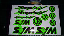 Sym Symphony Stickers / Decals GREEN & Black 11 piece printed vinyl, 50, 125,