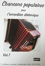 Fisarmonica diatonica Tablatures Chansons popolari v.1 nuovo con CD
