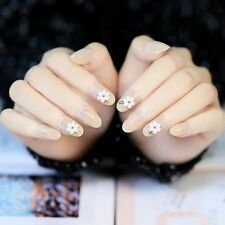 24 Pcs Flower Short False Nails Oval Full Design Transparent and White Nail Tips