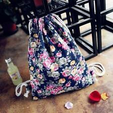 Fashion Women Ladies Floral Canvas Backpack Fashion Drawstring Casual Backpack