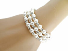 Bridal Silver Pearl And Crystal Wraparound Bracelet Bangle Cuff Prom