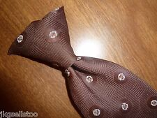 VINTAGE MENS CLIP-ON TIE - BROWN GEOMETRIC PATTERN