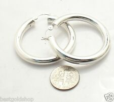 "5mm X 40mm 1.5"" Plain Bold Thick Round Hoop Earrings Real 925 Sterling Silver"