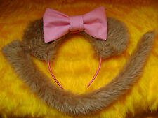 Mouse Ears And Tail Light Brown Faux Fur With Big Pink Bow Instant Fancy Dress
